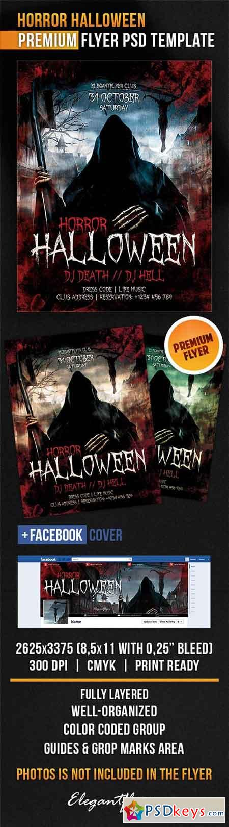 Horror Halloween Flyer PSD Template + Facebook Cover
