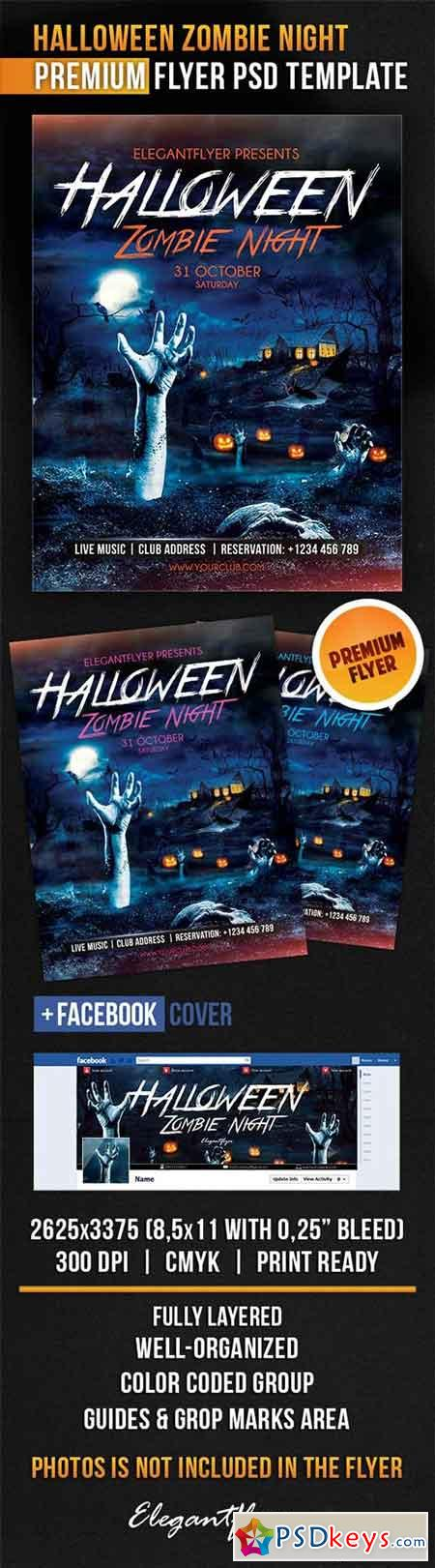 Halloween Zombie Night Flyer PSD Template + Facebook Cover