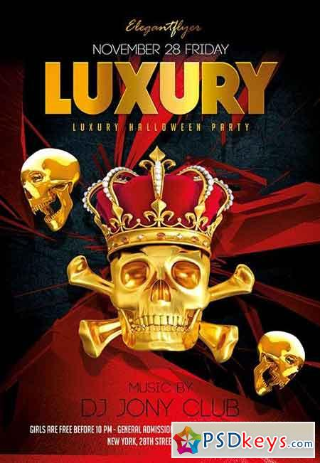 Luxury Halloween Party Flyer PSD Template + Facebook Cover