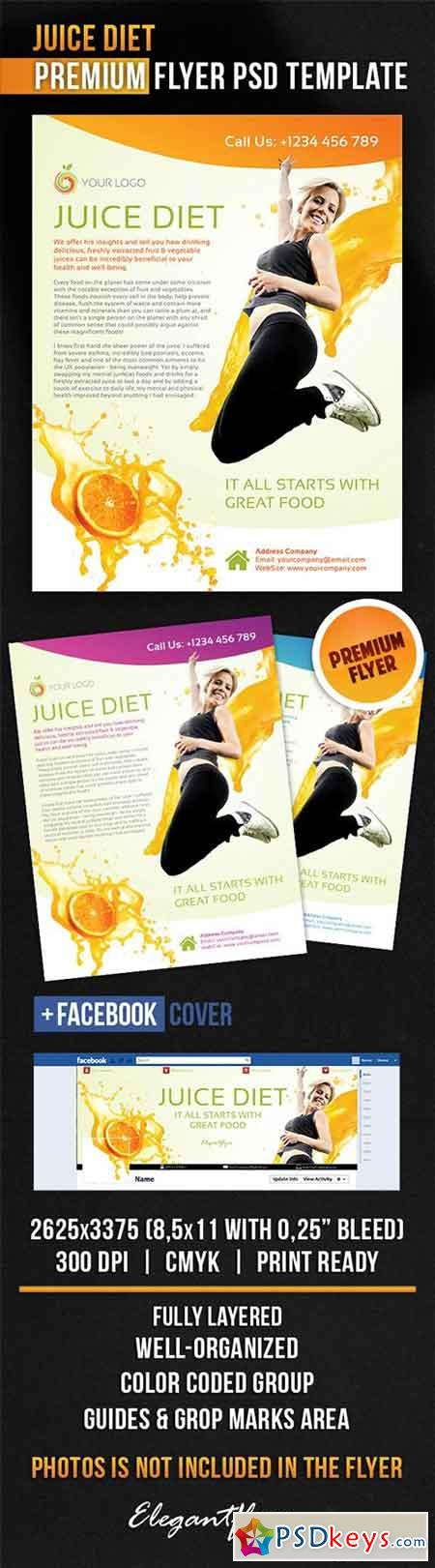Juice Diet Flyer PSD Template + Facebook Cover