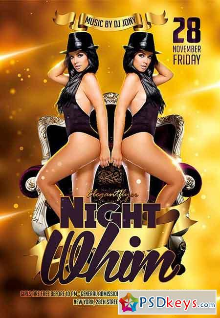 Night Whim Flyer PSD Template + Facebook Cover
