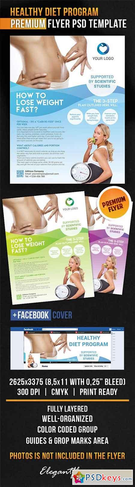 Healthy Diet Program Flyer PSD Template + Facebook Cover