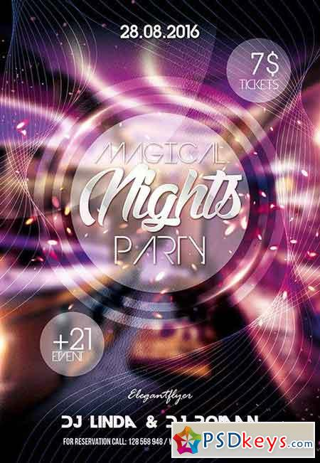 Magical Nights Party Flyer PSD Template + Facebook Cover