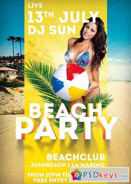Beach Party Summer V9 Flyer Template
