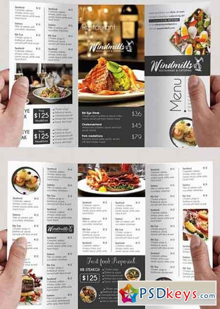 Restaurant Menu V3 Psd Tri-Fold Psd Brochure Template » Free