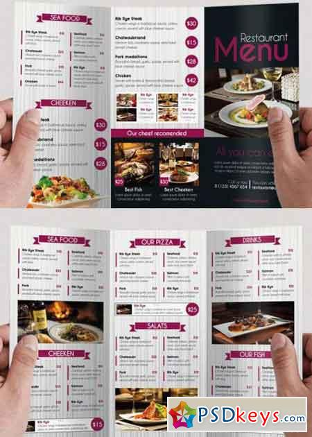 Restaurant Menu Psd Tri-Fold Psd Brochure Template » Free Download