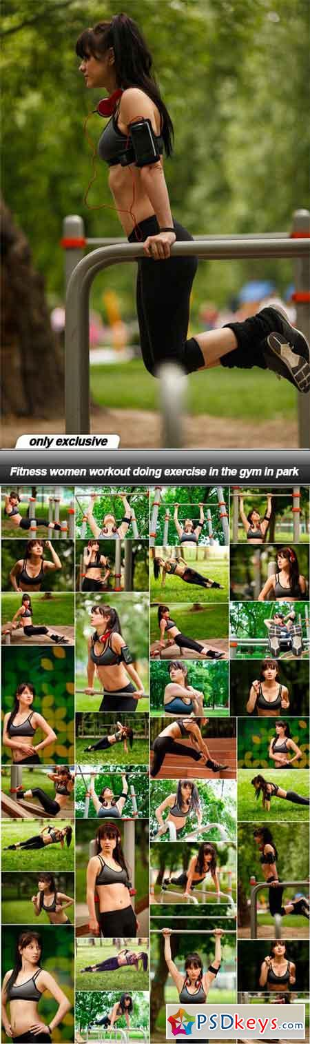 Fitness women workout doing exercise in the gym in park - 33 UHQ JPEG