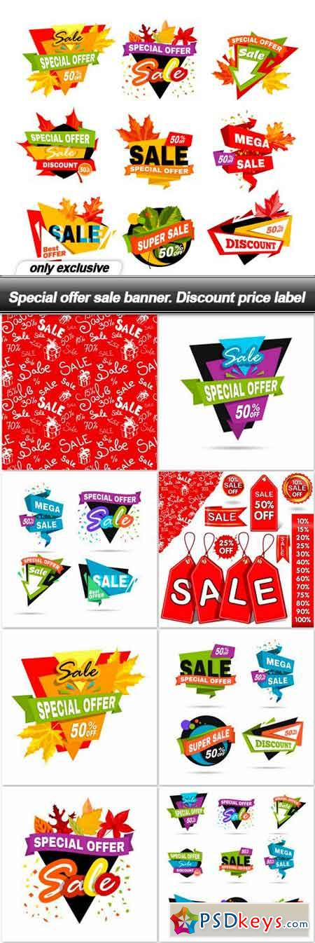 Special offer sale banner. Discount price label - 9 EPS