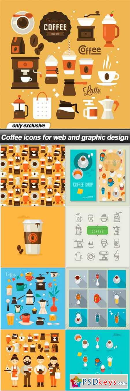 Coffee icons for web and graphic design - 9 EPS