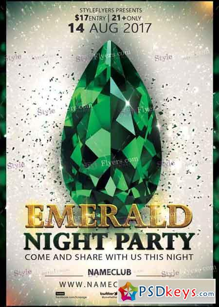 Emerald Party V1 Psd Flyer Template » Free Download Photoshop