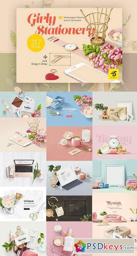girly stationery mockup creator 828059 free download photoshop