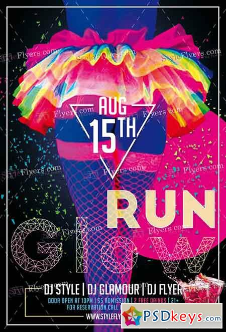 Glow Run PSD Flyer Template + Facebook Cover