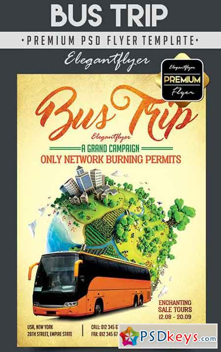 Bus Trip – Flyer PSD Template + Facebook Cover