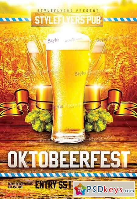 Oktobeerfest PSD Flyer Template + Facebook Cover