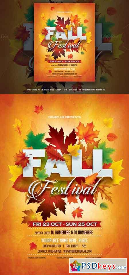 Fall Festival Flyer   Free Download Photoshop Vector Stock