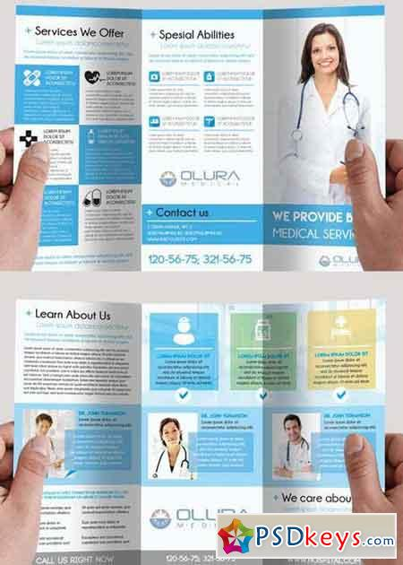 Medical V Premium TriFold PSD Brochure Template Free Download - Photoshop tri fold brochure template free