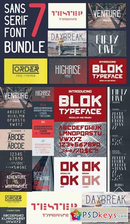 Sans Serif font bundle 7 typefaces 863119
