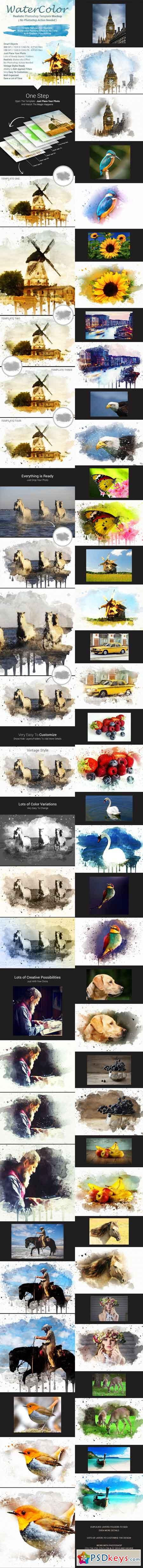 Realistic Watercolor Photoshop Template Mock-Ups 17449967