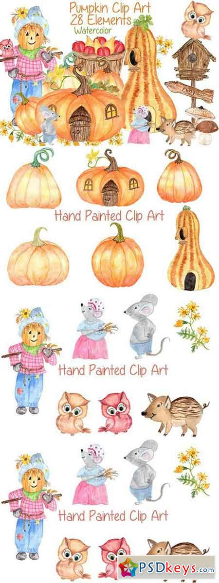 Watercolor pumpkin clipart 779094