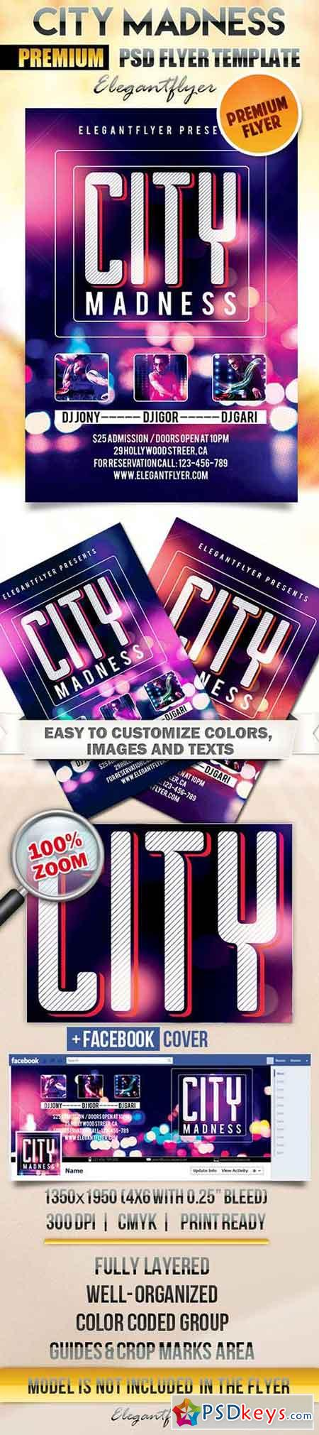City Madness Flyer PSD Template + Facebook Cover