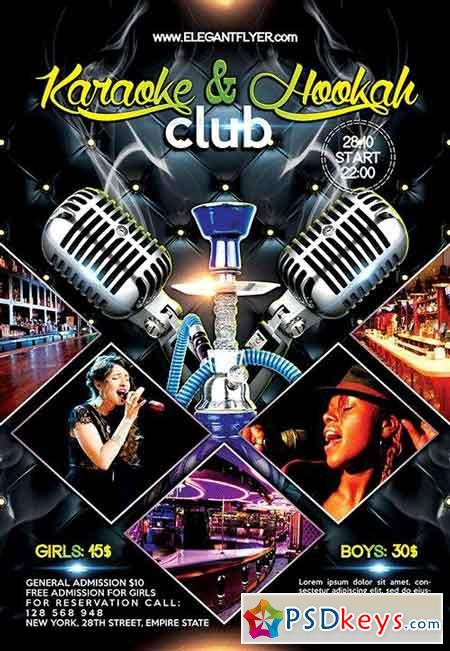 Karaoke And Hookah Club Flyer Psd Template Facebook Cover Free