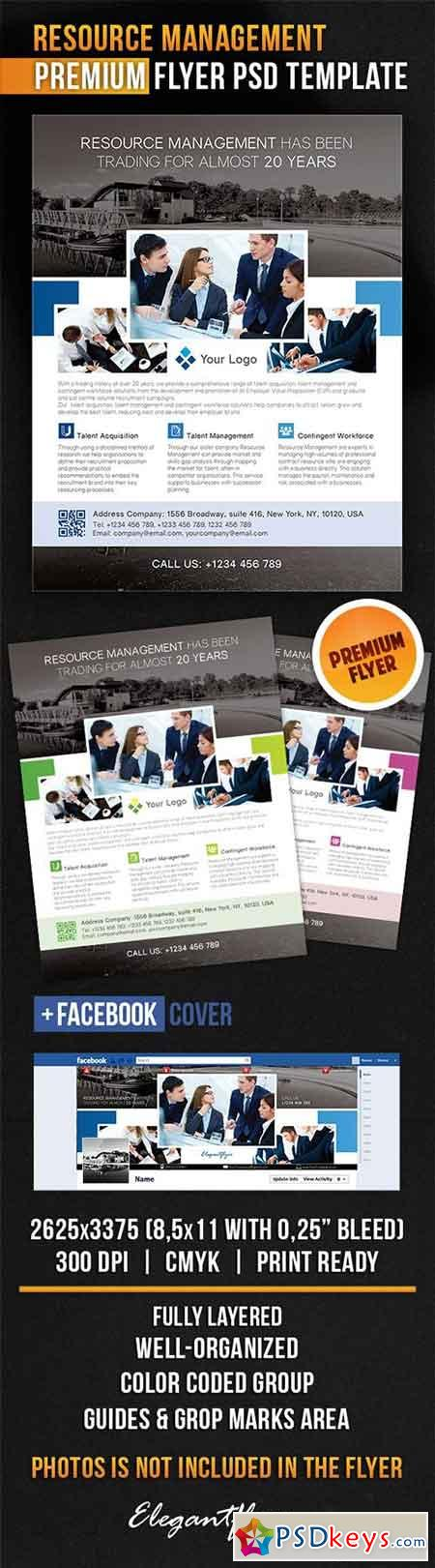 Resource Management Flyer PSD Template + Facebook Cover