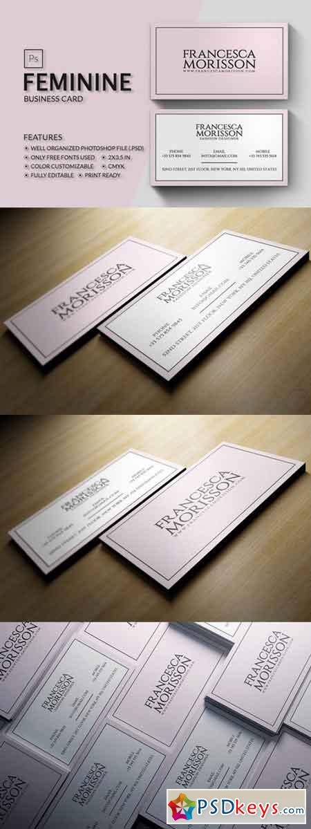 Feminine business card 839312 free download photoshop for Feminine business cards