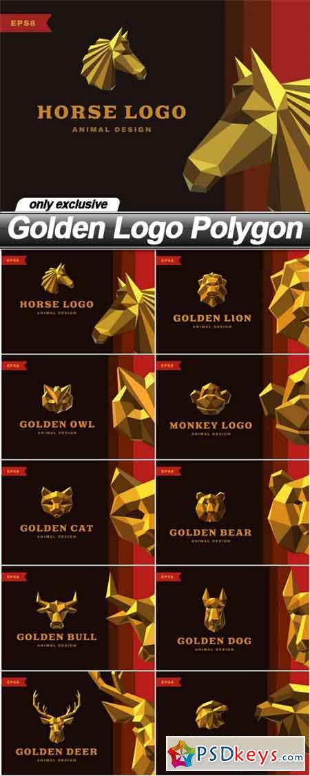 Golden Logo Polygon - 10 EPS