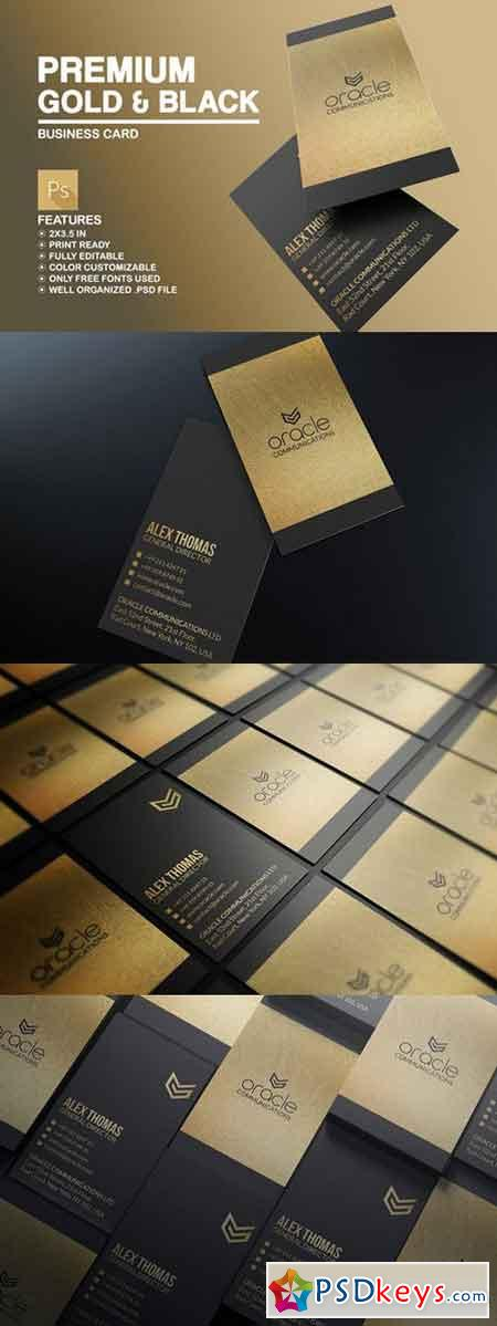 Premium Gold And Black Business Card 588795