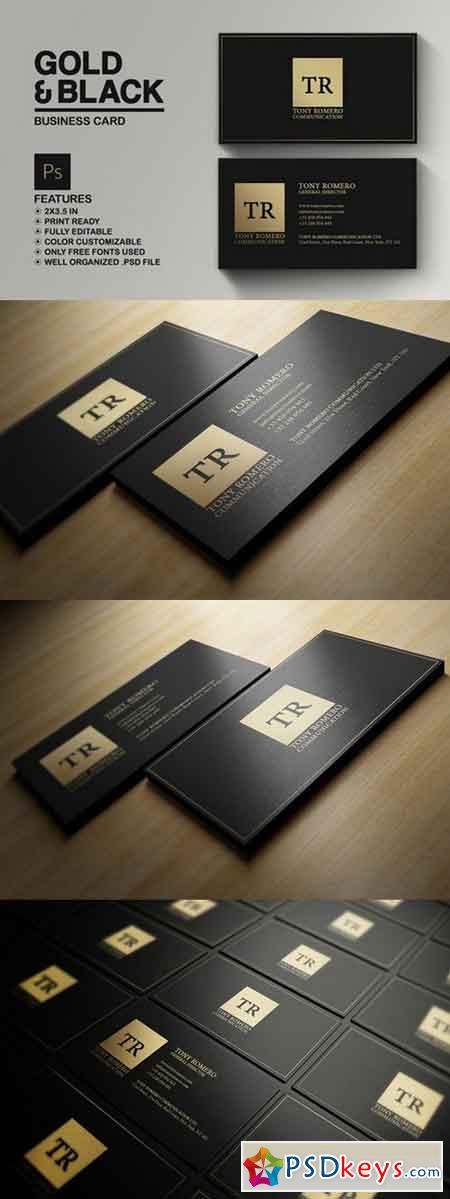 Minimal Gold And Black Business Card 775691