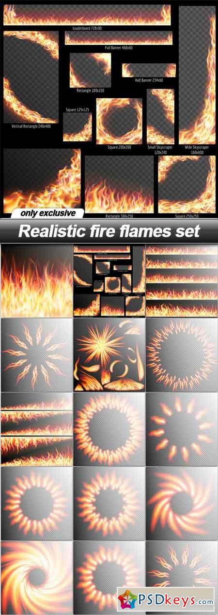 Realistic fire flames set - 15 EPS