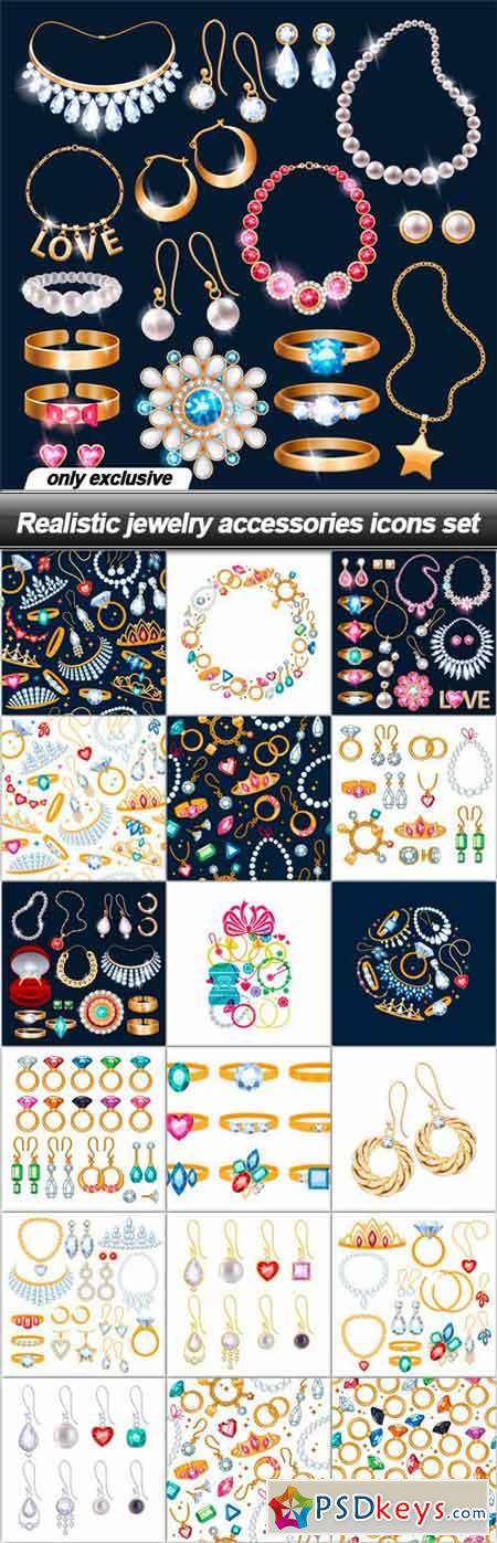 Realistic jewelry accessories icons set - 19 EPS