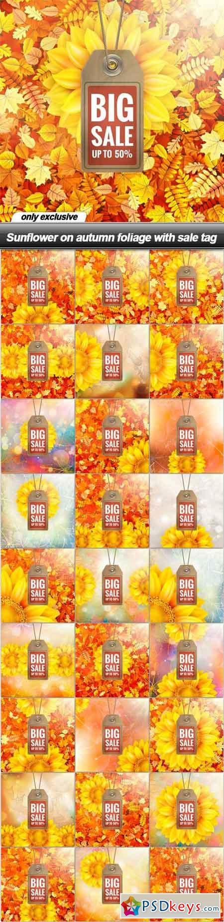 Sunflower on autumn foliage with sale tag - 26 EPS