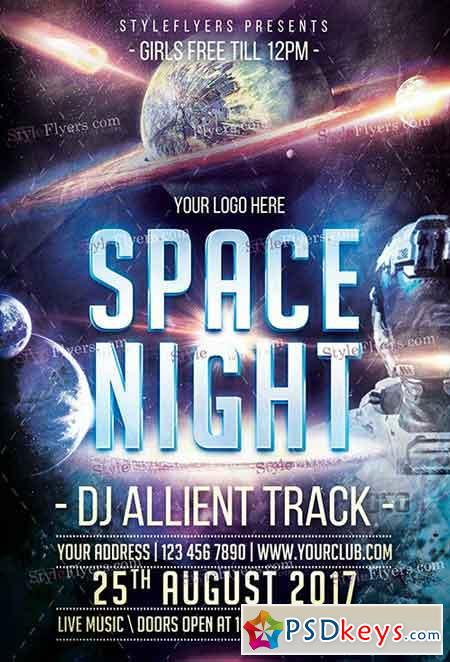 Space Trip PSD Flyer Template + Facebook Cover