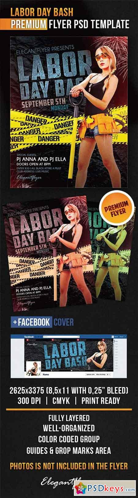Labor Day Bash – Flyer PSD Template + Facebook Cover
