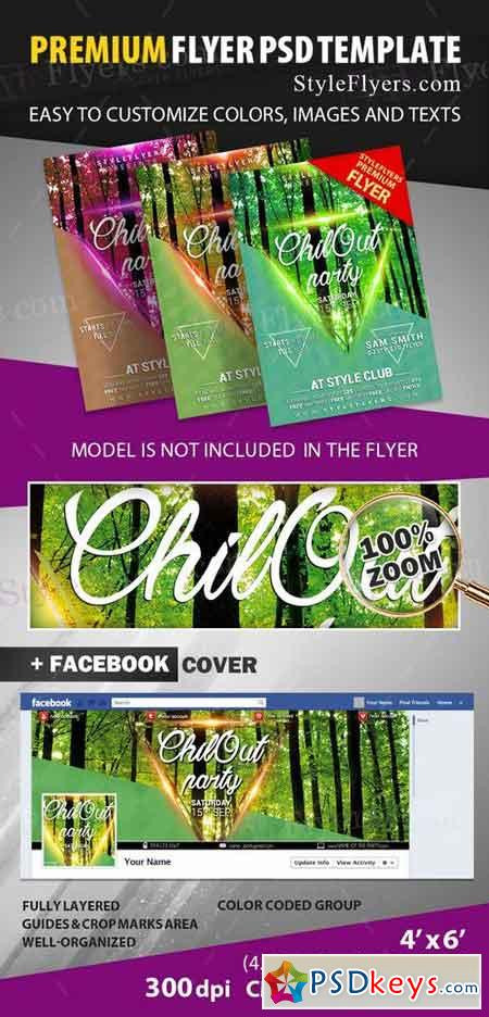 Chill Out PSD Flyer Template + Facebook Cover