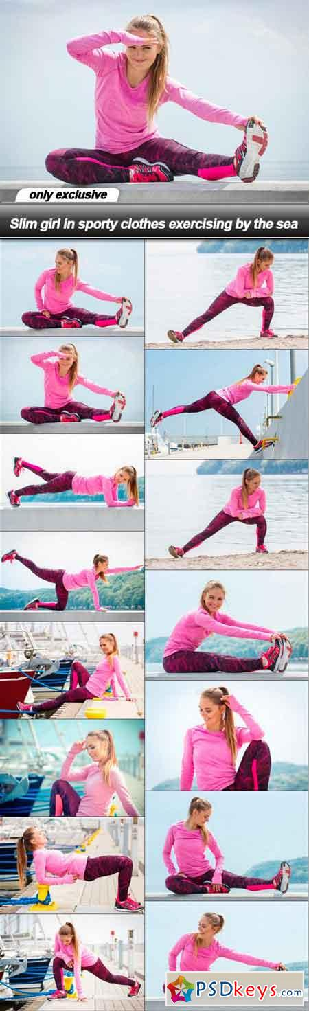 Slim girl in sporty clothes exercising by the sea - 15 UHQ JPEG