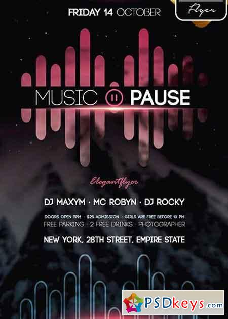Music Pause Flyer Psd V2 Template Facebook Cover Free