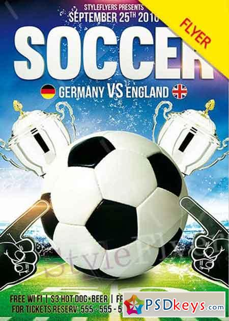 Soccer Psd V Flyer Template  Free Download Photoshop Vector