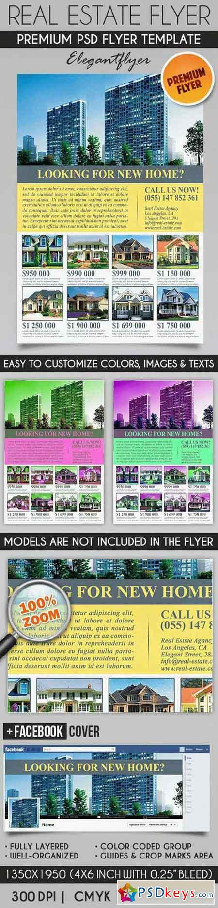Real estate flyer psd template facebook cover free for Real estate brochure templates psd free download
