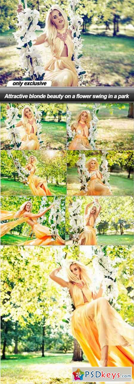 Attractive blonde beauty on a flower swing in a park - 8 UHQ JPEG
