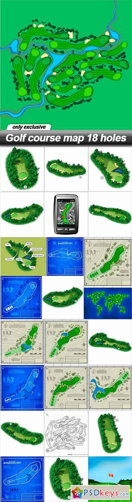 Golf course map 18 holes - 25 EPS
