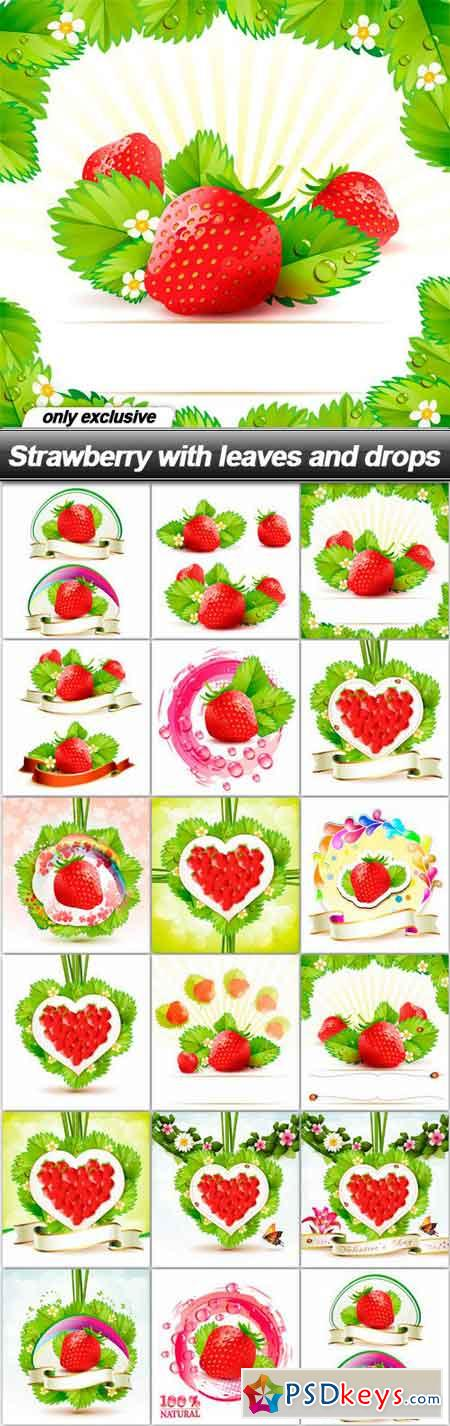 Strawberry with leaves and drops - 17 EPS