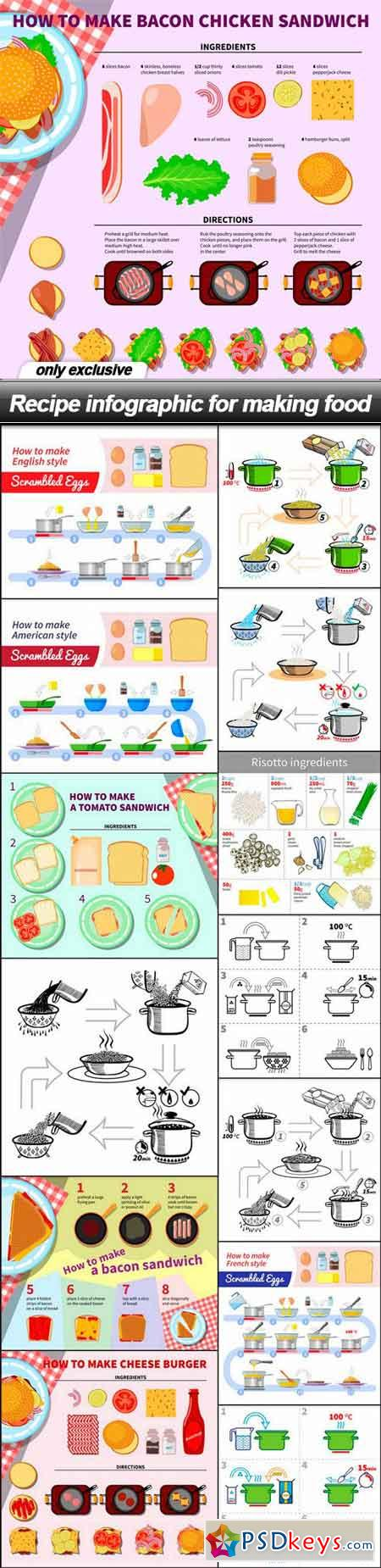 Recipe infographic for making food - 14 EPS