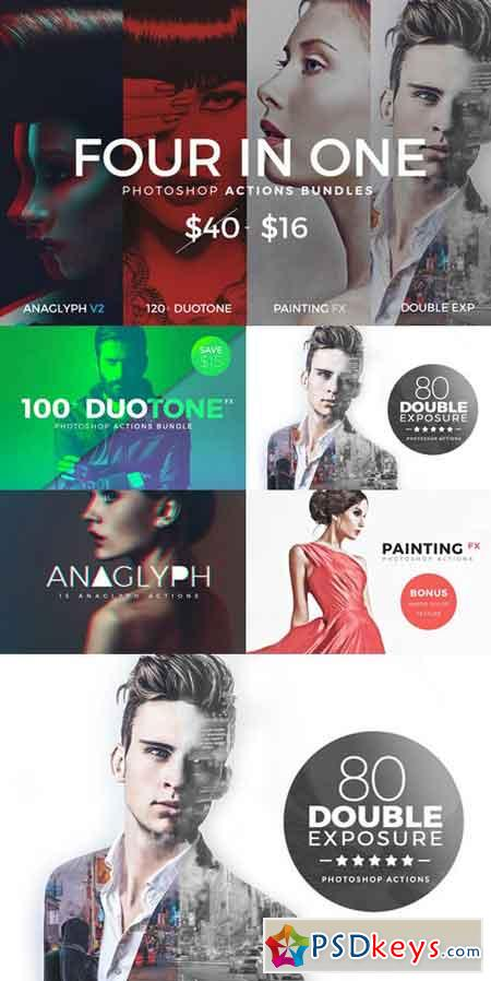 4 in 1 Photoshop Actions Bundles 895885