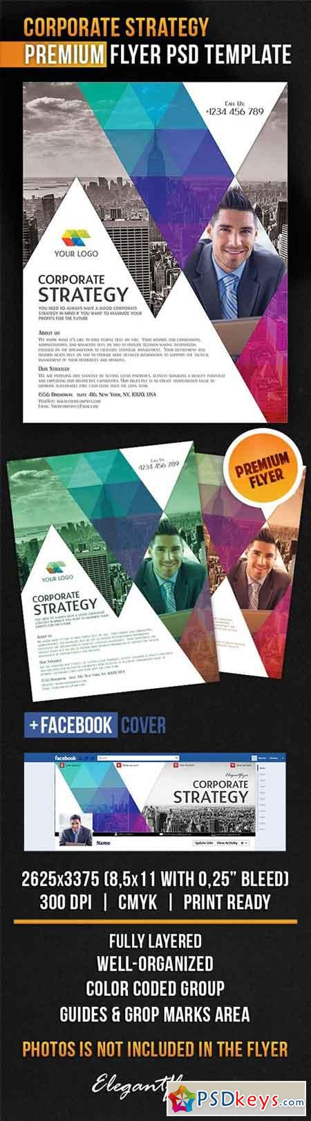 Corporate Strategy Flyer PSD Template + Facebook Cover