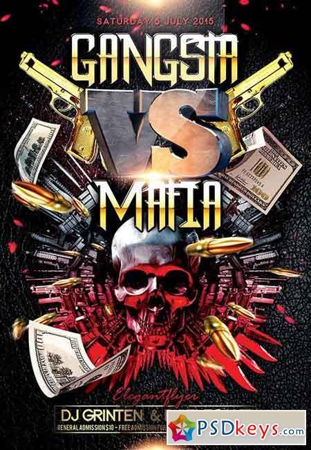 Gangsta vs Mafia Flyer PSD Template + Facebook Cover