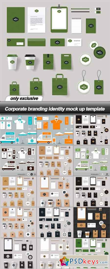 Corporate branding identity mock up template - 15 EPS