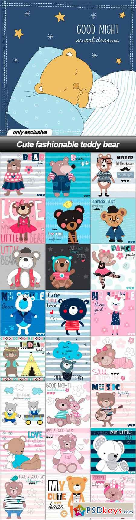 Cute fashionable teddy bear - 25 EPS