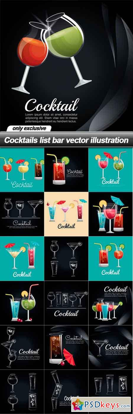 Cocktails list bar vector illustration - 19 EPS